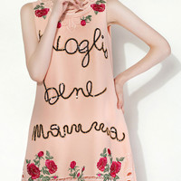 Pink Sequined Rose Embroidered Shift Dress