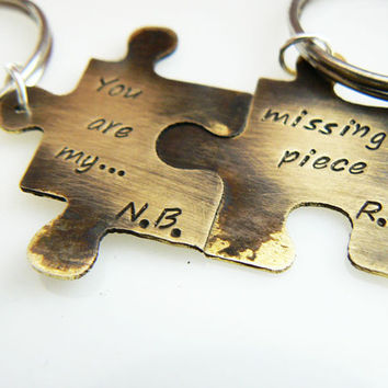 You are my missing piece Set of TWO, Personalized Puzzle Piece Set, Puzzle Pieces, Puzzle Piece Keychain Set of 2