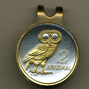 Gorgeous 2-Toned   Gold on Silver Greek  Owl - Coin - Golf Ball Marker - Hat Clips