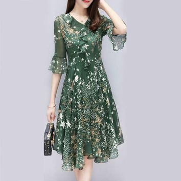Summer Floral Print Dress Women Casual Dress Chiffon Flower Pattern V Neck Ruffle Tunic Elegant Empire High Waisted Woman Dress