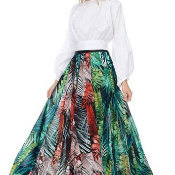 To The Tropics Leather Waist Floor Length Maxi Skirt