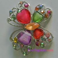Butterfly brooch colorful rhinestone pin