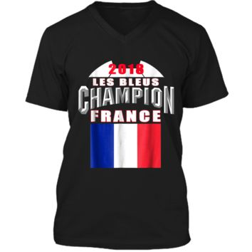 2018 France Soccer TShirt Team Les Bleus Cup tees Mens Printed V-Neck T