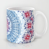 Red, Blue & White Floral Medallion Mug by Micklyn