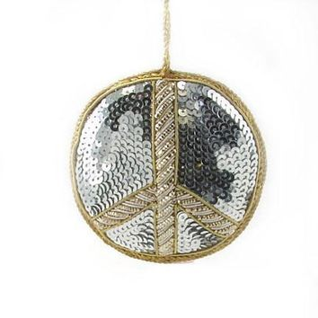 Handmade Zardozi Holiday Ornament - Peace Sign