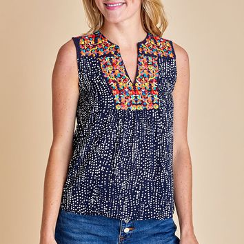 THML Printed Embroidered Sleeveless Top