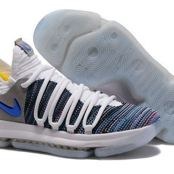 Nike KD 10 White Blue Grey For Sale