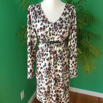ALAIN MANOUKIAN French Designer Black White Red Animal Print Dress Sequins Sz 12