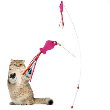 1Pc Funny Pet Cat Toy Stick  Fish Design  for your playful Cat or Kitten.