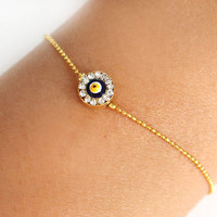 Evil eye bracelet handmade swarovski evil eye gold plated chain dainty bracelet istanbul turkey ethnic christmas best friend birthday gift