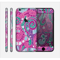 The Abstract Pink & Purple Vector Swirled Pattern Skin for the Apple iPhone 6
