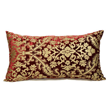 Canaan Company P-241-B 16x28 Burgundy Accent Pillow with Knife Edges