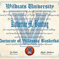 """Villanova Wildcats Ultimate Basketball Fan Personalized Diploma - Perfect Gift - 8.5"""" x 11"""" Parchment Paper"""