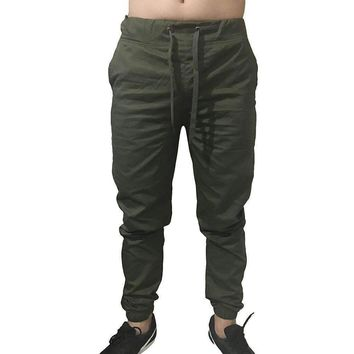 Men's Twill Jogger Pants Urban Hip Hop Harem Casual Trousers Slim Fit Elastic Pants