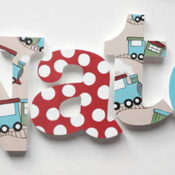 ChooChoo Train Themed Wooden Wall Name Letters / Hangings, Hand Painted for Boys Rooms, Play Rooms and Nursery Rooms