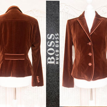 Vintage Hugo Boss Luxuorious, designer velvet Jacket in warm maroon,chocolate brown  Elegant lightweight Blazer / coat size M Business woman