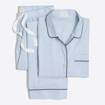 Long-sleeve end-on-end cotton pajama set