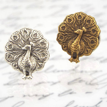 Peacock Tie Tack or Lapel Pin, Antiqued Brass or Silver Plated