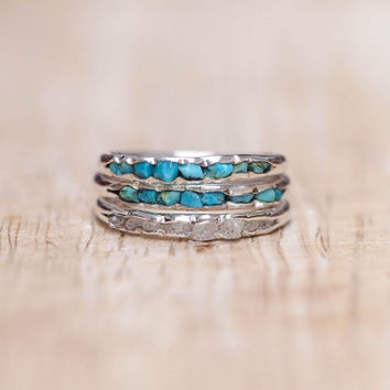 Turquoise ring - stacking ring with light blue genuine turquoise in sterling silver /// Hidden Gems collection by Gardens of the Sun