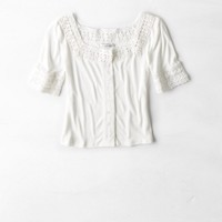 AEO RIBBED BUTTON T-SHIRT