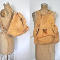 Leather Bookbag Backpack / distressed brown / unisex