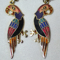 Cloisonne Parrot Earrings - Fish Hook Wire Dangles -1980's Earrings - Colorful