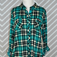 Country Backwoods Flannel - Black/Teal