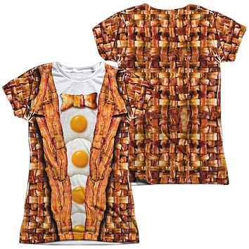 Bacon and Eggs Juniors T-shirt Front & Back