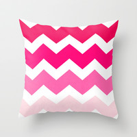 Ombre Chevron- Powder Room Throw Pillow by Rebecca Allen