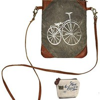 Mona B Upcycled Paris Streeter Canvas & Leather Small Crossbody Bag with Coin Purse