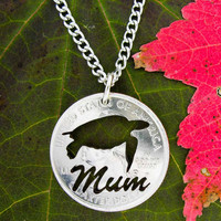Personalized 'Mum' Turtle Hand cut Coin Necklace