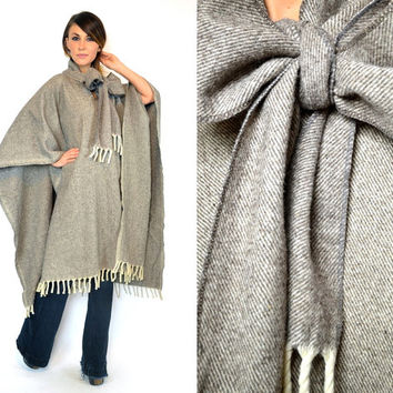 vintage 1970s lightweight WOOL PONCHO mexican blanket draped oversized CAPE cloak cape, one size fits most