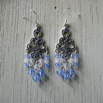Detailed Antique Silver Metal Pieces with Light Blue and Crystal Swarovski Beads - Chandelier Earrings