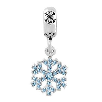 Snowflake Charms Swarovski Elements Crystal Dangle Spacer Bead Fits Bracelets