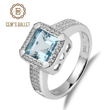 Gem's Ballet 3.31Ct Natural Sky Blue Topaz Gemstone Engagement Rings Solid 925 Sterling Silver Fine Jewelry For Women