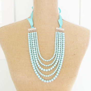 Aqua Blue Pearl Multi Strand Statement Necklace Blue Satin Ribbon Adjustable - Wedding, Bridal, Bridesmaid Chunky