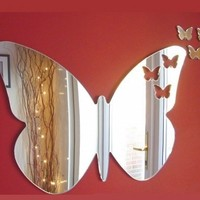 Butterflies Out of Butterfly Mirror 35cm X 25cm & 3 Baby Butterflies (13inch)