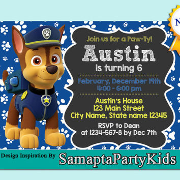 Chase Customizable Paw Patrol Birthday Party Invite