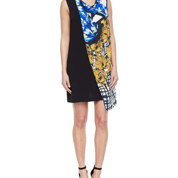 Shattered Garden Draped Printed/Solid Dress, Size: