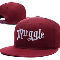 HAIHONG Harry Potter Muggle Logo Adjustable snapback Embroidery Hats Caps - Red