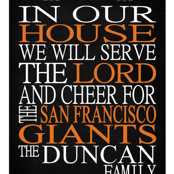 Customized Name San Francisco Giants MLB Baseball personalized family print poster Christian gift sports wall art - multiple sizes