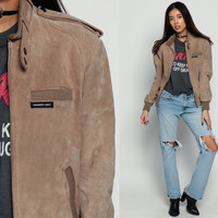 Leather BOMBER Jacket Members Only Suede Brown Leather Biker