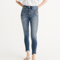 Womens Embroidered High Rise Super Skinny Jeans | Womens New Arrivals | Abercrombie.com