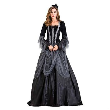 Women Long Dresses Elegant Halloween Party Cosplay Costume Vintage Witch Long Sleeve Maxi Dress