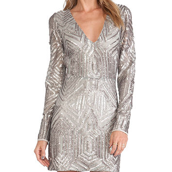 SAYLOR Naomi Sequin Dress in Metallic Silver