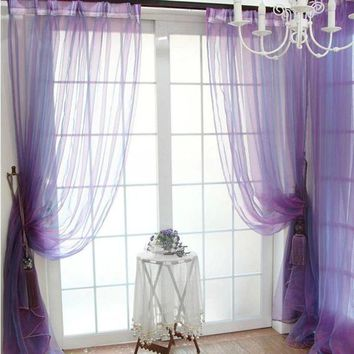 MDIGYN5 Super Deal  Green Tree Tulle Door Window Curtain Drape Panel Sheer Scarfs Valances XT