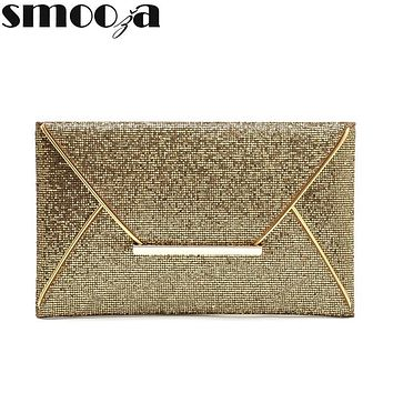 SMOOZA New arrival day clutches bags Women Evening Party Bags Gold Sequins Envelope Bag Purse Clutch Handbags Shiny Solid purse
