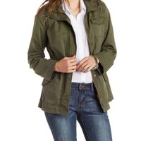 Olive Shearling-Lined Utility Jacket by Charlotte Russe