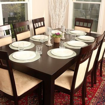 New Century® Formal 9 Pieces Butterfly Extension Table 8 Person Dining Table With Chairs
