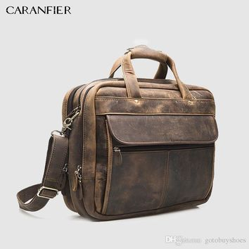 Retro Mens Briefcase First Layer of Crazy Horse Cowhide Leather Men Business Packs 16-inch Laptop Shoulder Zipper Bags #3049